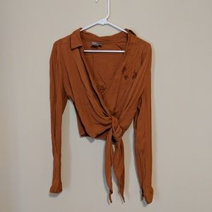 ASOS Burnt Orange Wrap and Tie Blouse